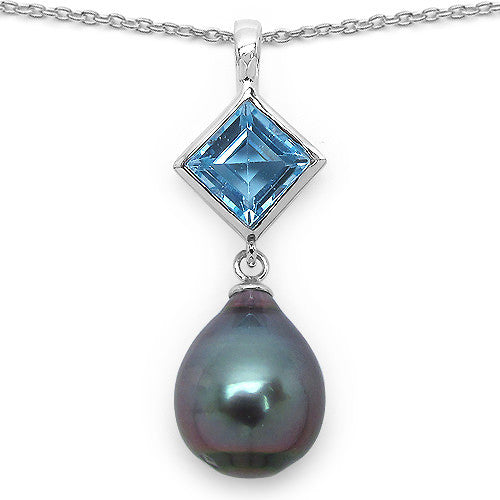 Blue Topaz and Tahitian Pearl Pendant In Sterling Silver