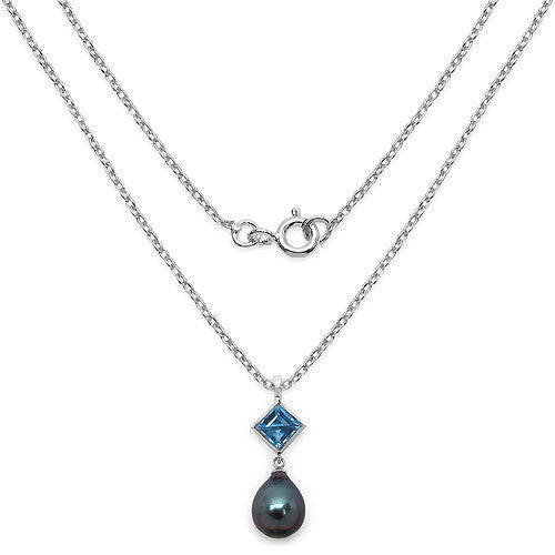 Blue Topaz and Tahitian Pearl Pendant In Sterling Silver Picture 2