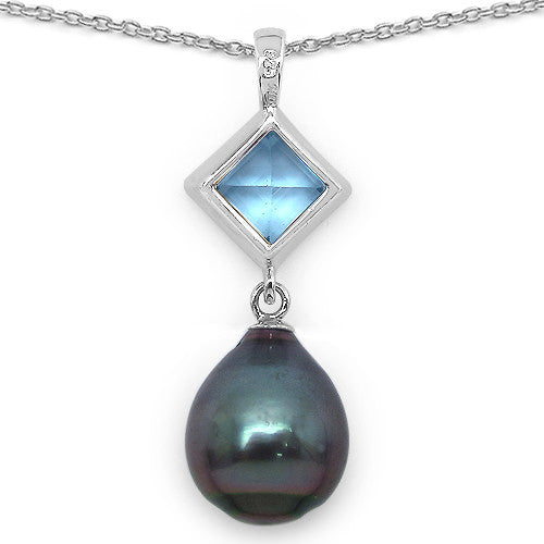 Blue Topaz and Tahitian Pearl Pendant In Sterling Silver Picture 3