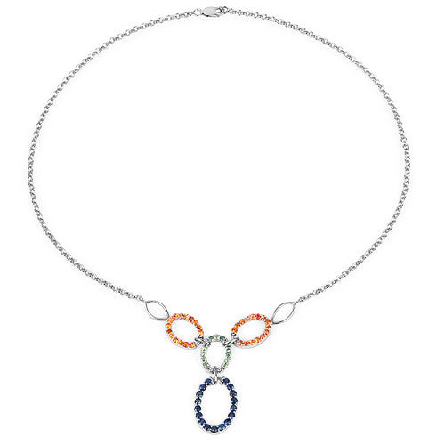 Multi Stone Sapphire Necklace In Sterling Silver Picture 2