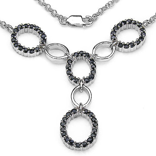 Black Sapphire Necklace in Sterling Silver
