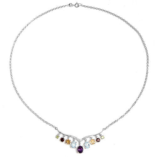 Genuine Multi Gemstone Necklace in Sterling Silver Picture 2