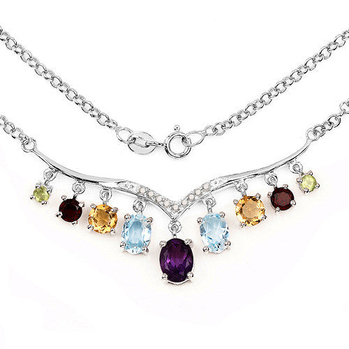 Genuine Multi Gemstone Necklace in Sterling Silver