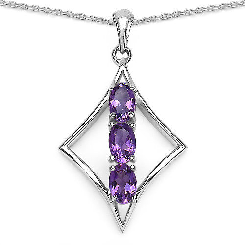 Amethyst Pendant With Chain in Sterling Silver