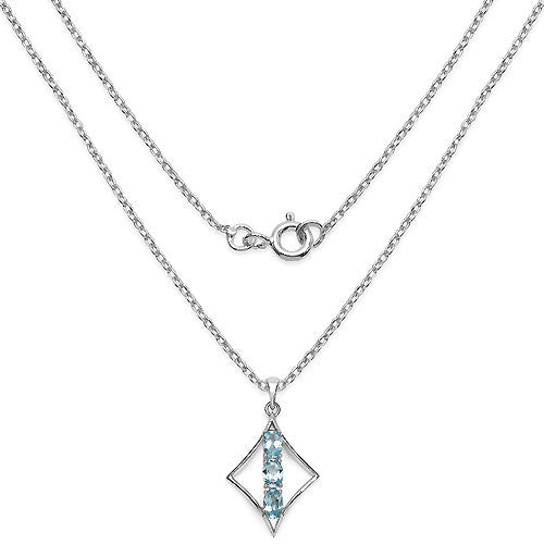 Blue Topaz Pendant With Chain in Sterling Silver Picture 2
