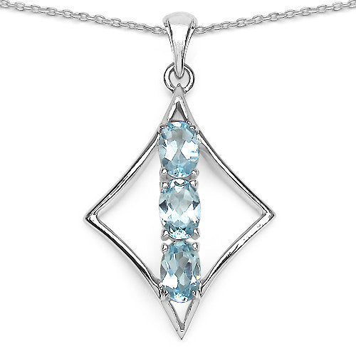 Blue Topaz Pendant With Chain in Sterling Silver
