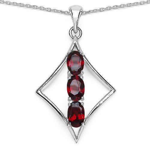 Garnet Pendant with Chain in Sterling Silver