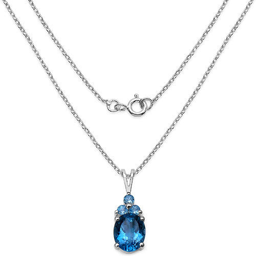 London Blue Topaz and Swiss Blue Topaz Pendant in Sterling Silver Picture 2