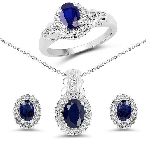 Blue Sapphire And White Topaz In Sterling Silver Gift Set