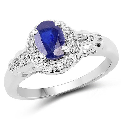 Blue Sapphire And White Topaz Ring In Sterling Silver