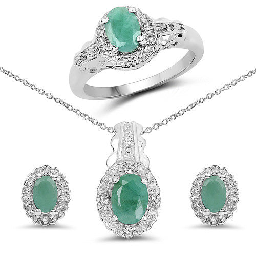 Emerald and White Topaz In Sterling Silver Gift Set
