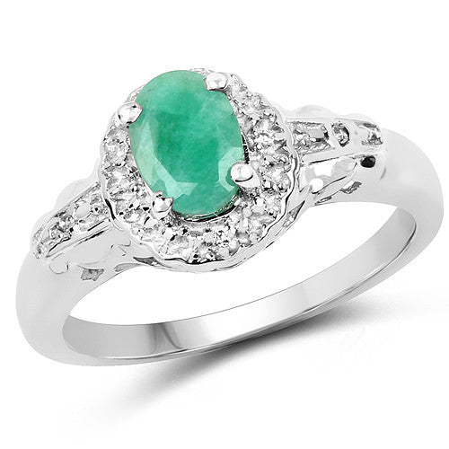 Emerald and White Topaz Ring In Sterling Silver Gift Se