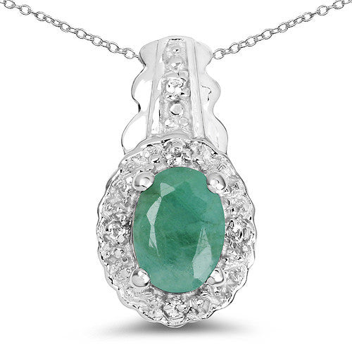 Emerald and White Topaz Pendant In Sterling Silver Gift Se