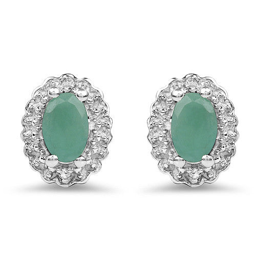 Emerald and White Topaz Earrings In Sterling Silver Gift Se