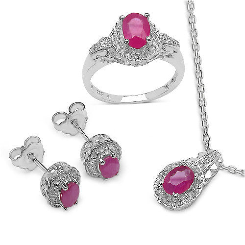 Ruby and White Topaz In Sterling Silver Gift Set