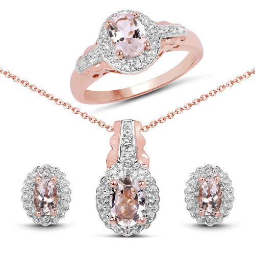 Morganite and White Topaz in 14K Rose Gold Gift Set