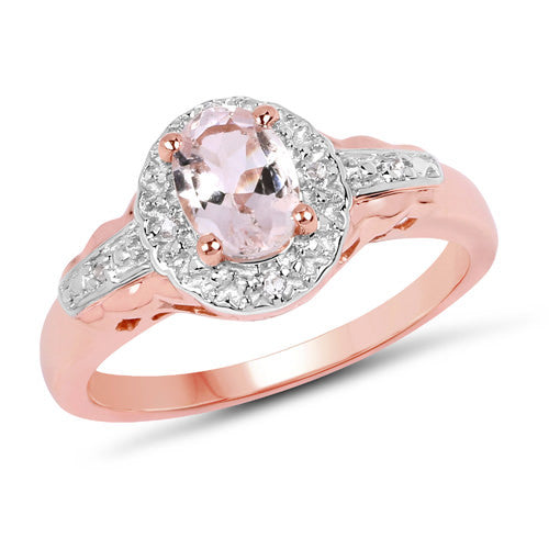 Morganite and White Topaz Ring in 14K Rose Gold