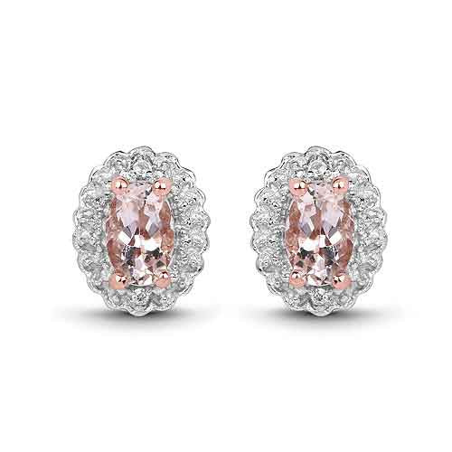 Morganite and White Topaz Earrings in 14K Rose Gold