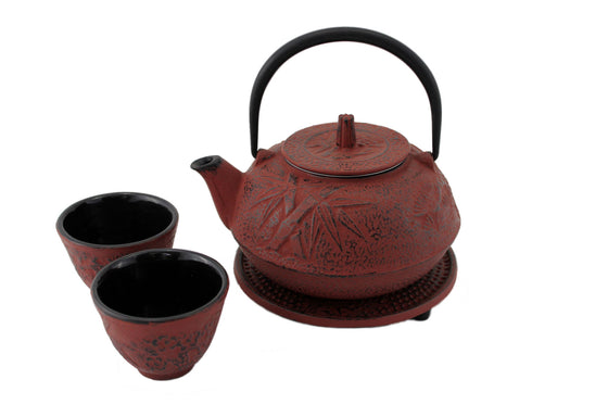 Red Bamboo Cast Iron Tea Gift Set