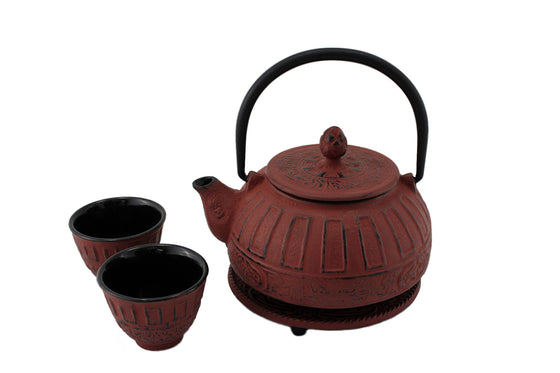 Red Classical Tetsubin Cast Iron Tea Gift Set