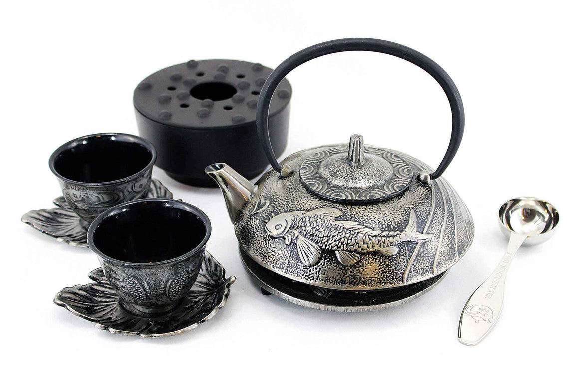 Silver Japanese Koi Cast Iron Combo Tea Gift Set