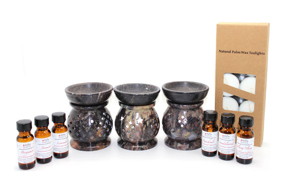 Soapstone Fragrance Oil Diffuser 4 Inch Combo Gift Set