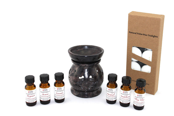 Soapstone Fragrance Oil Diffuser 4.5 Inch Gift Set