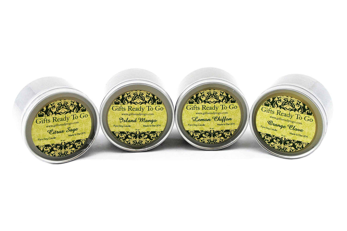 All Natural Travel Tin Soy Candles - Citrus & Fruit Gift Set