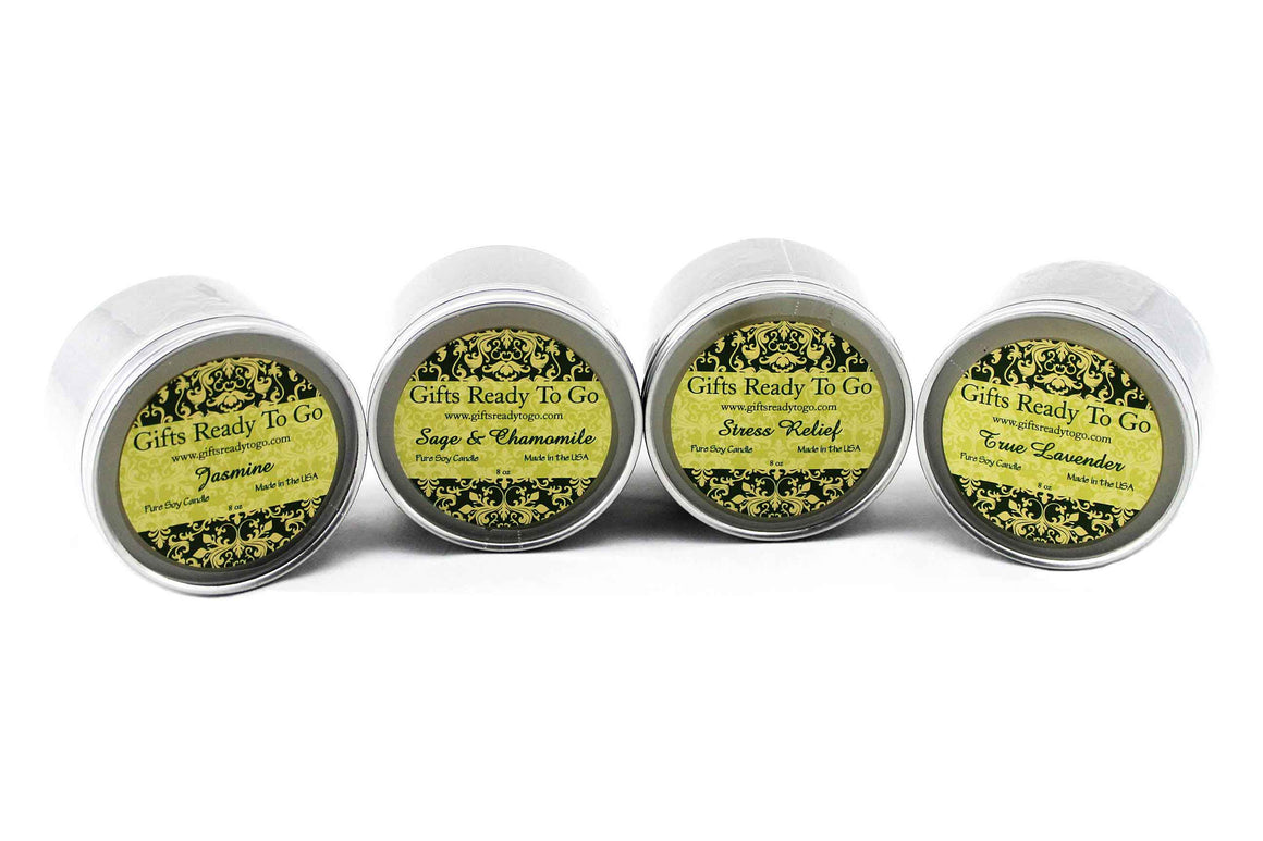 All Natural Travel Tin Soy Candles - Stress Relief Collection Gift Set