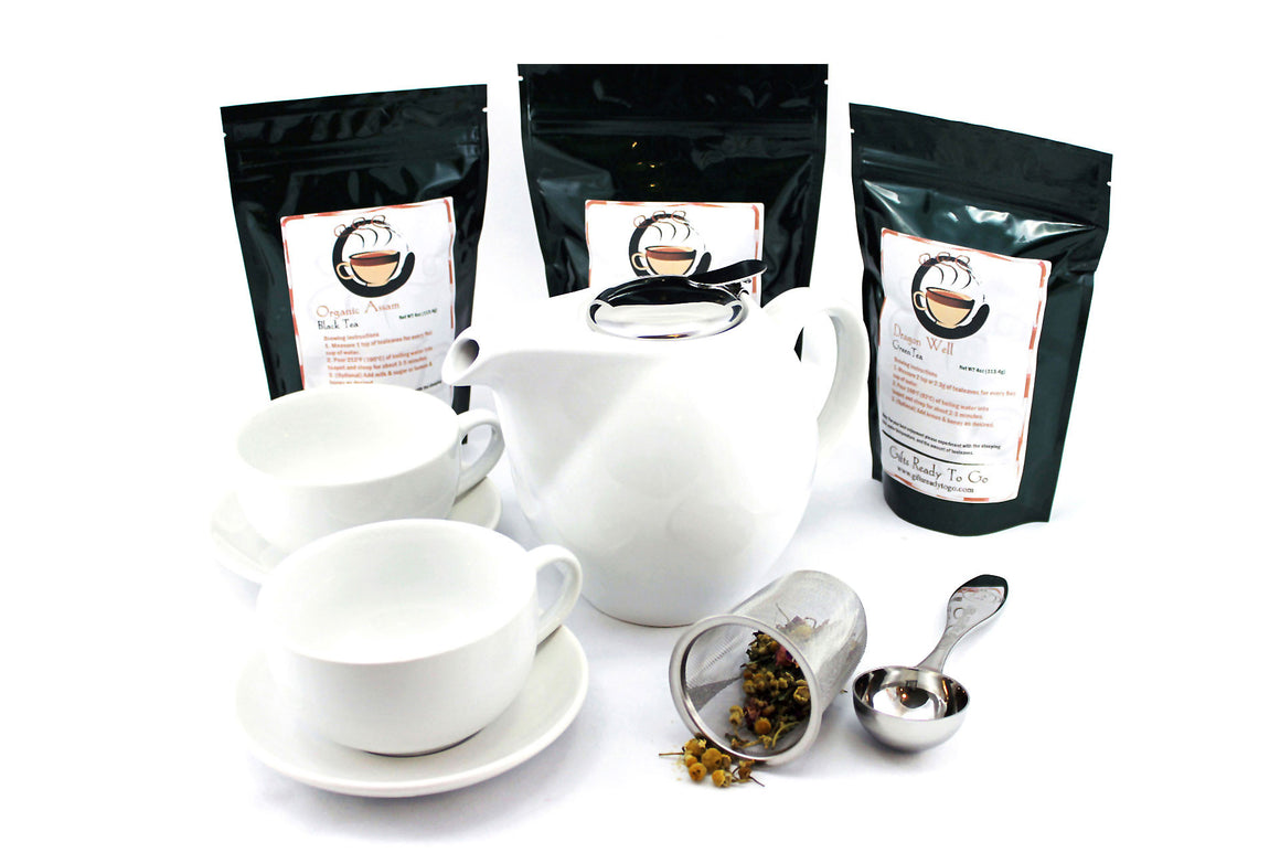White Zen Ceramic Combo Tea Gift Set