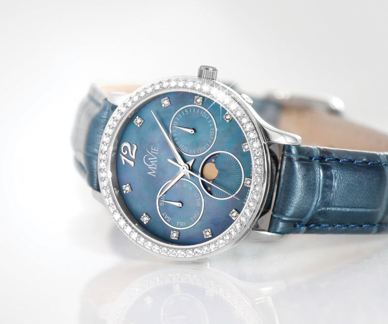 MaVie Lunar Leather Timepiece For Women - Stylish & Sophisticated