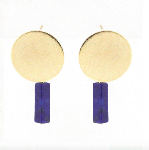 Round Plate Square Pillar Earrings