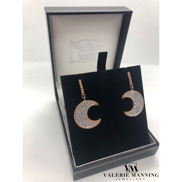 STERLING SILVER ROSE CZ MOON EARRINGS