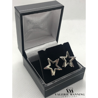 STERLING SILVER DIMENSIONAL STAR EARRINGS