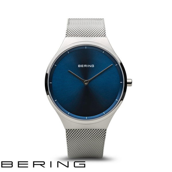 BERING: GENTS CLASSIC POLISHED SILVER/BLUE