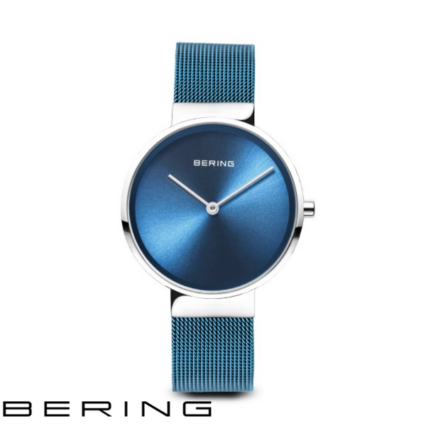 BERING: LADIES CLASSIC POLISHED SILVER/BLUE