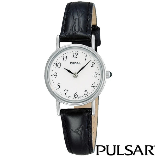 PULSAR: LADIES SMALL BLACK LEATHER (SILVER TRIM)