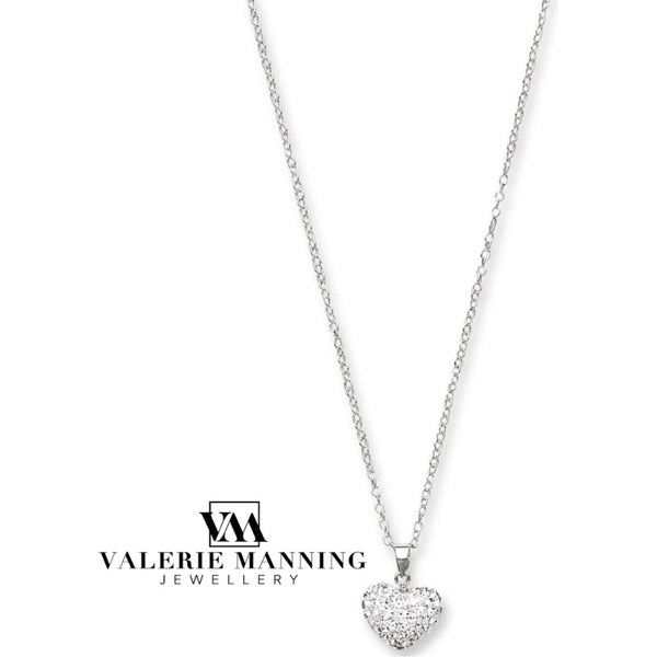 STERLING SILVER WHITE CRYSTAL HEART