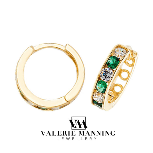 VMJ GOLD: 9CT GOLD HUGGIE CZ EMERALD EARRINGS