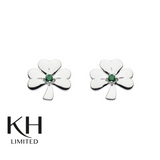 KIT HEATH: HERITAGE GREEN CZ SHAMROCK EARRINGS