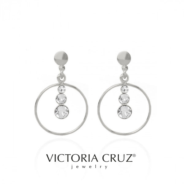 VICTORIA CRUZ: SILVER CRYSTAL ARO EARRINGS