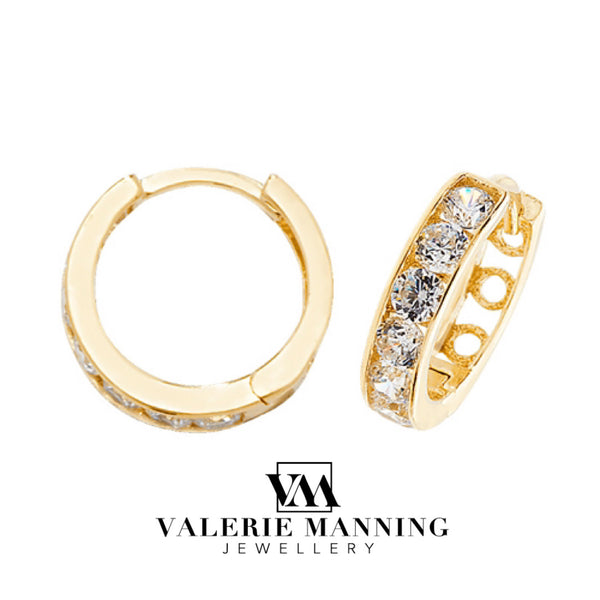 VMJ GOLD: 9CT GOLD HUGGIE CZ EARRINGS