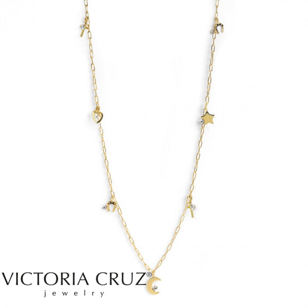 VICTORIA CRUZ: GOLD CELESTE CRYSTAL NECKLACE