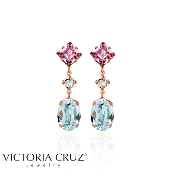 VICTORIA CRUZ: ROSE AZORE EARRINGS