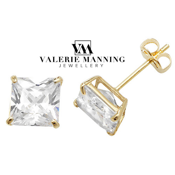 VMJ GOLD: 9CT GOLD 6MM SQUARE CZ STUD EARRINGS