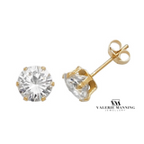 VMJ GOLD: 9CT GOLD 6MM CZ STUD EARRINGS