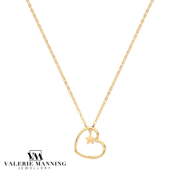 VMJ GOLD: 9CT GOLD HEART & STAR CHARM NECKLET