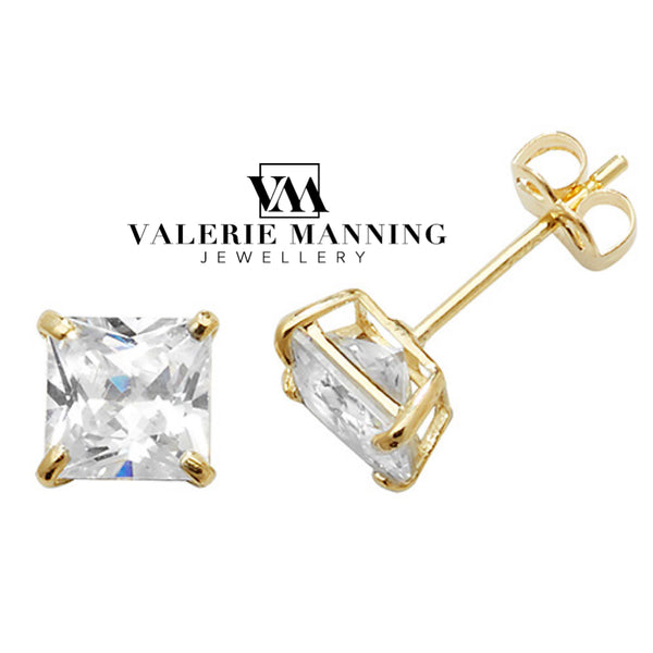 VMJ GOLD: 9CT GOLD 5MM SQUARE CZ STUD EARRINGS