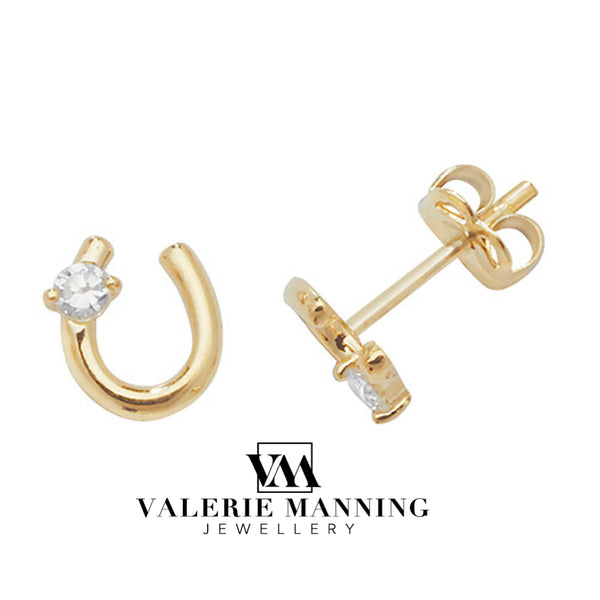 VMJ GOLD: 9CT GOLD HORSESHOE CZ STUD EARRINGS