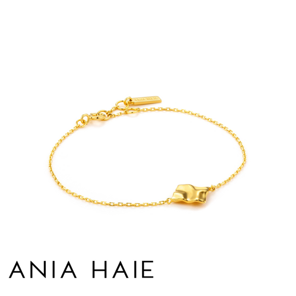ANIA HAIE: STERLING SILVER GOLD CRUSH SQUARE BRACELET